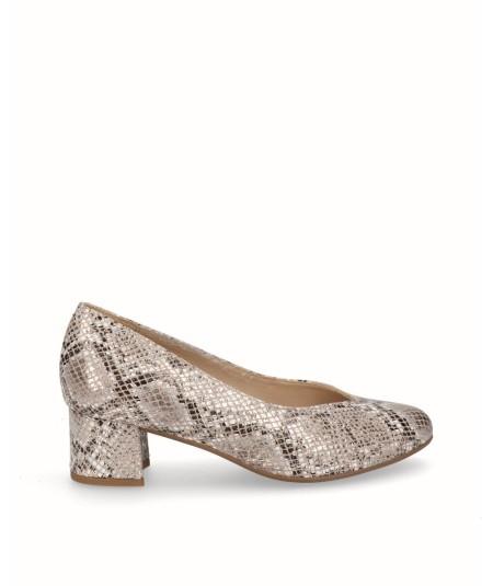 Zapato salón tacón piel grabado serpiente beige