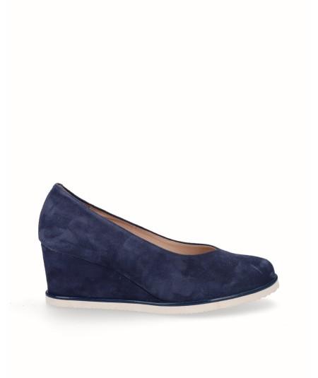 Zapato cuña salón piel serraje azul marino
