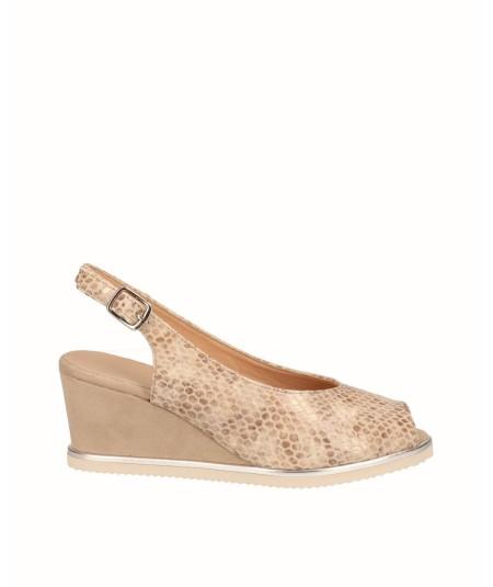 Zapato peep toes cuña salón piel grabado serpiente gris
