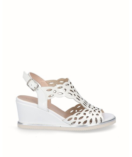 White patent leather wedge sandal