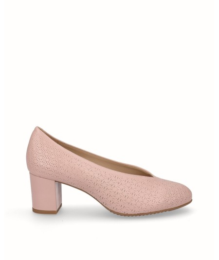 Natural leather shoe pink removable plant