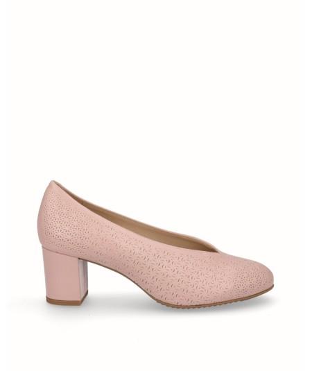 Zapato piel natural planta extraíble rosa