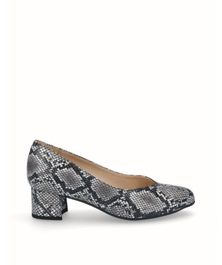 Zapato salón tacón piel grabado serpiente negro