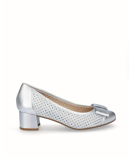 Zapato salón tacón piel fantasía blanco con piel plata