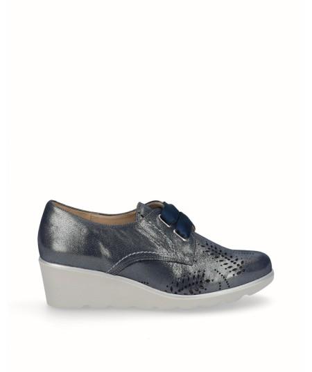 Zapato cuña piel fantasia azul marino