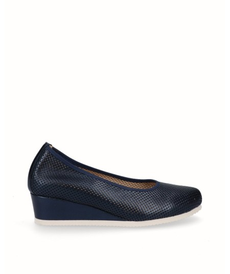 Navy blue pearl leather removable sole wedge lounge shoe