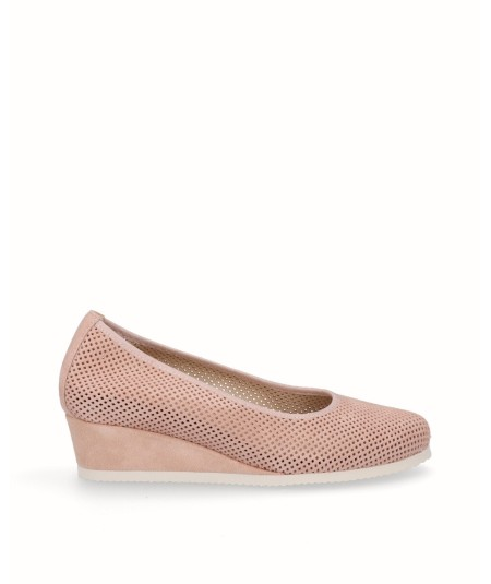 Pink split leather removable sole wedge lounge shoe