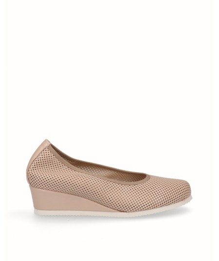 Tanned leather removable sole wedge lounge shoe