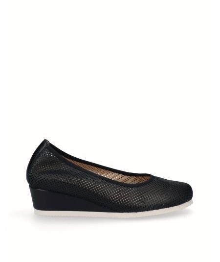 Zapato salón cuña planta extraíble piel negro