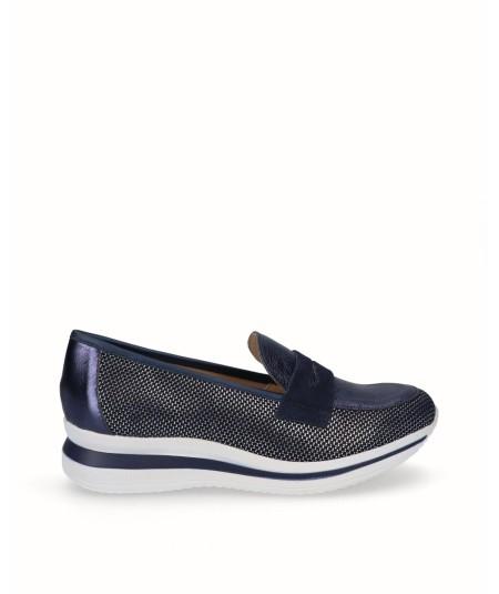 Zapato mocasín deportivo rejilla y piel azul marino