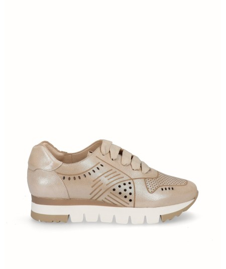 Zapato deportivo  piel fantasía crema