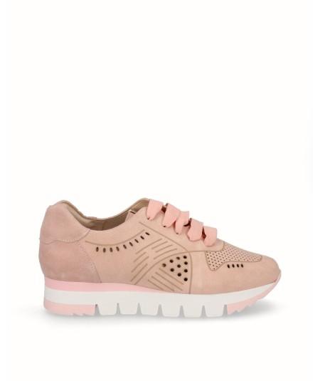 Zapato deportivo piel serraje rosa