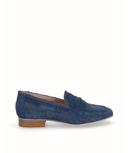 Zapato mocasín piel serraje azul