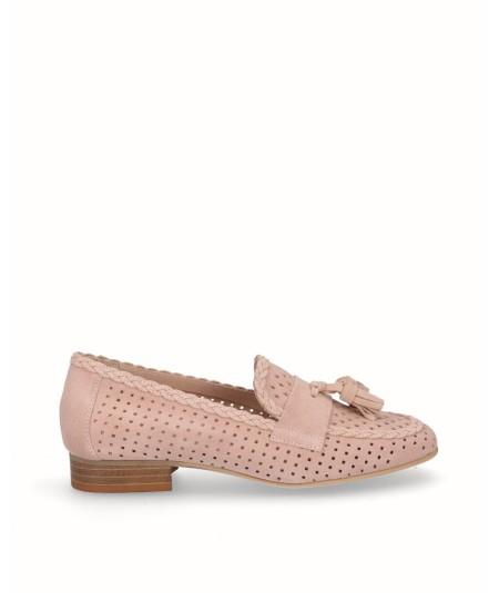 Zapato mocasín piel serraje rosa adorno borlas