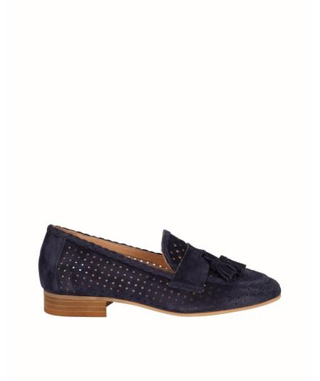 Zapato mocasín  piel serraje azul marino adorno borlas