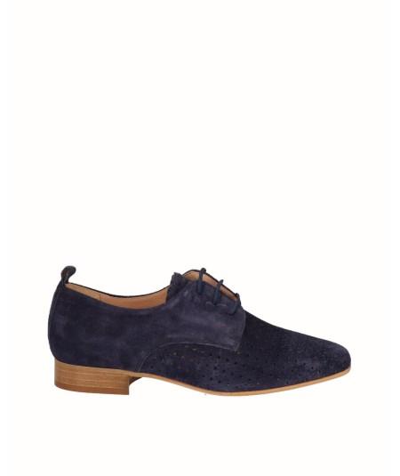 Zapato blucher piel serraje azul marino
