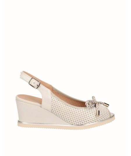 White fantasy leather lounge wedge peep toes shoe