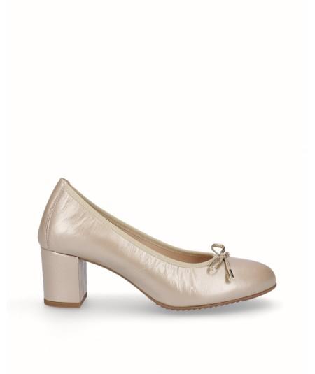 Zapato salón tacón piel nacarada oro planta extraíble