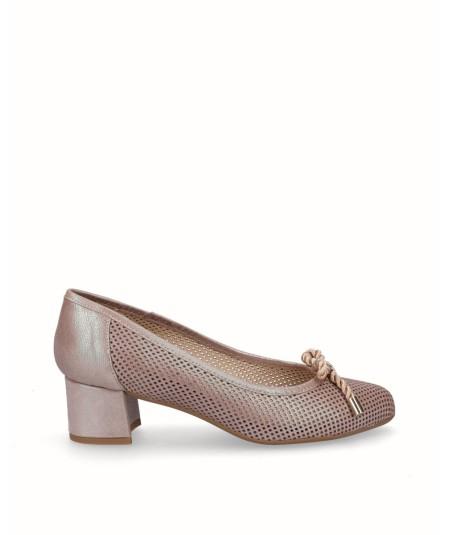 Zapato salón tacón piel fantasía beige planta extraíble