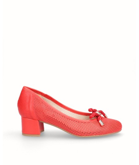Red leather high-heeled lounge shoe with removable plant