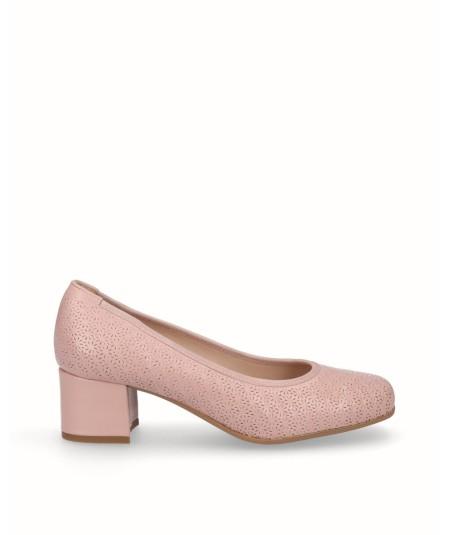 Zapato salón piel rosa petalo picado