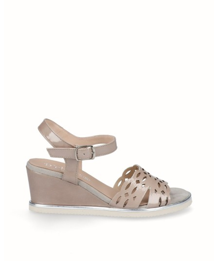 Tan patent leather wedge sandal