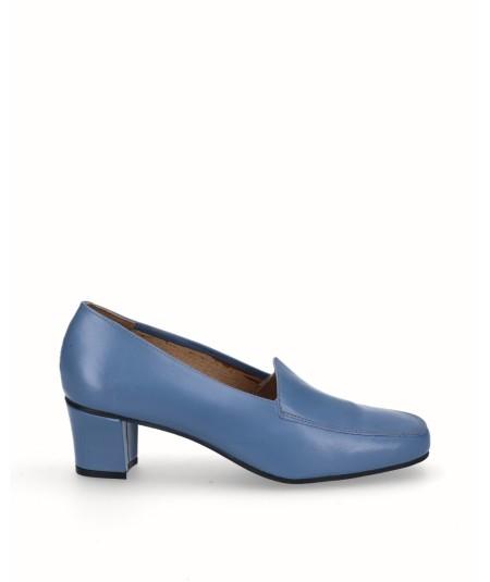 zapato mocasín tacón piel azul jeans