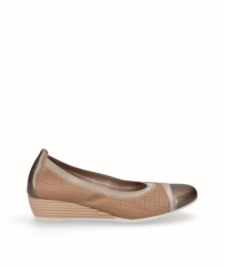 Zapato bailarina francesita cuña piel vison bronce