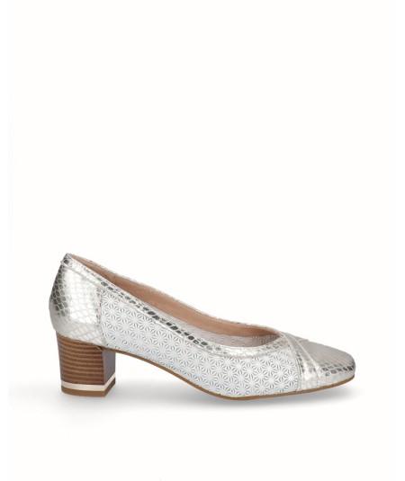 Zapato salón tacón piel nacarada fantasía blanco plata