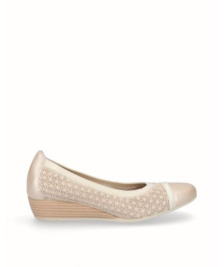 Zapato bailarina francesita cuña piel hielo