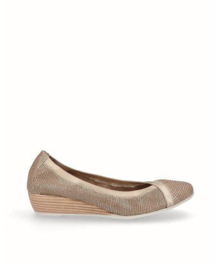 Zapato bailarina francesita cuña piel fantasia beig