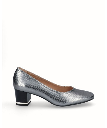 Zapato salón tacón piel fantasía plata vieja