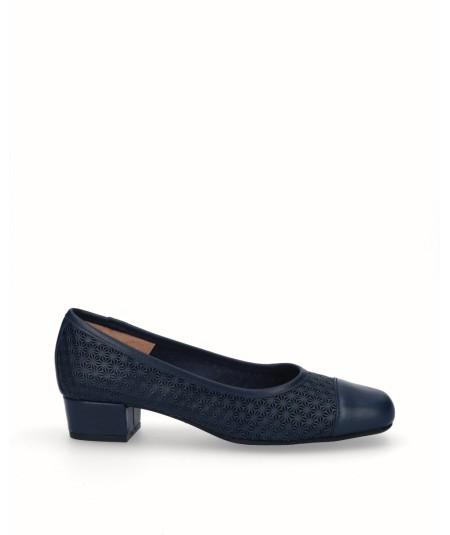 Zapato salón tacón piel picado azul marino