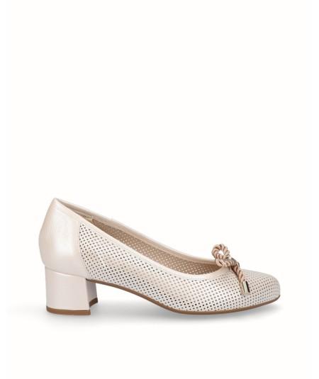 Zapato salón tacón piel nacarada beig planta extraíble