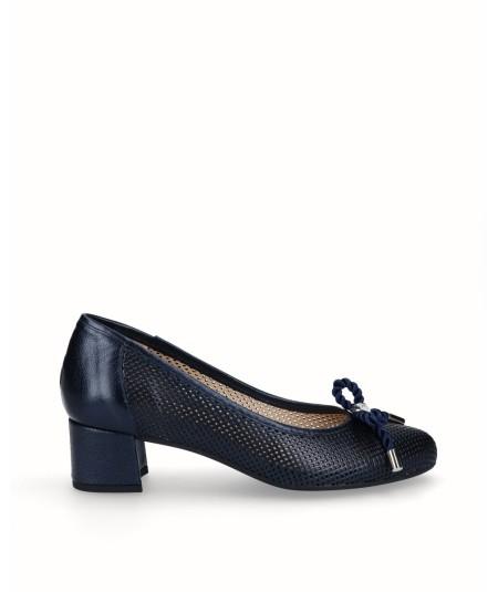 Zapato salón tacón piel nacarada azul marino planta extraíble