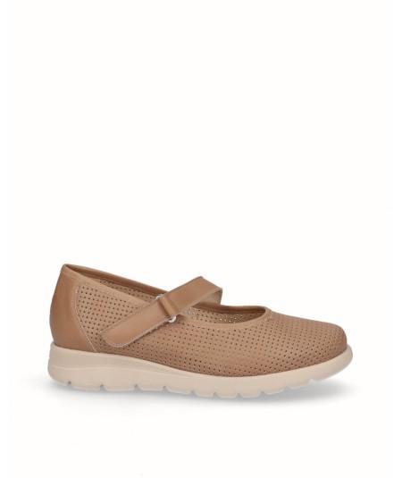 Zapato plano piel castoro marron