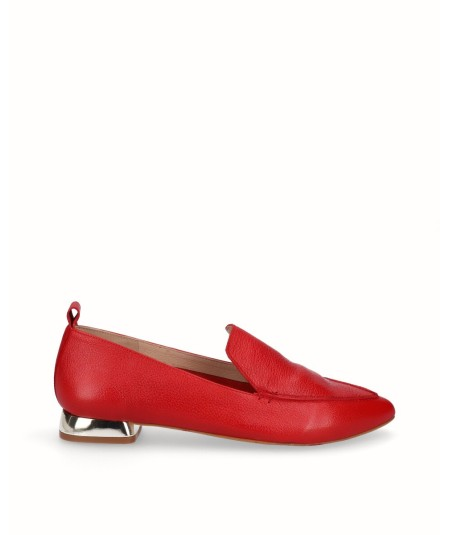 Red leather flat moccasin shoe