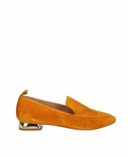 Mustard split leather flat moccasin shoe