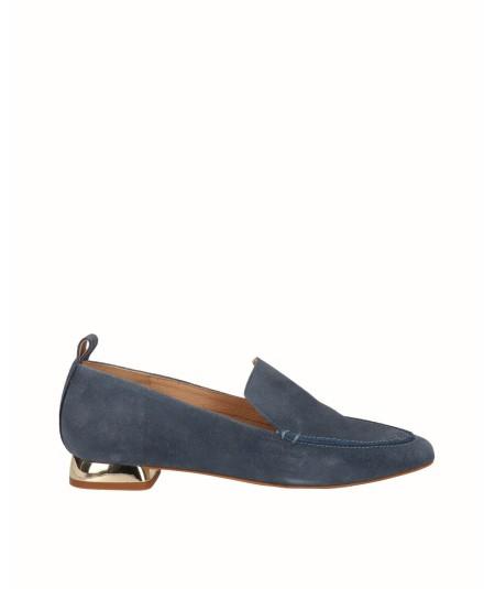 Flat moccasin shoe blue split leather jeans