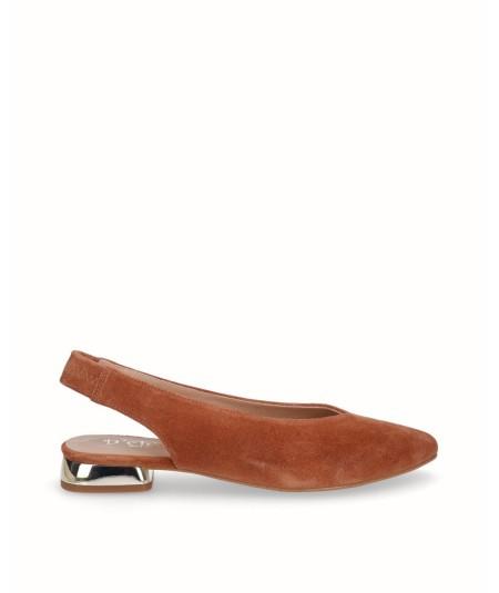 Zapato bailarina plano destalonado piel serraje cuero