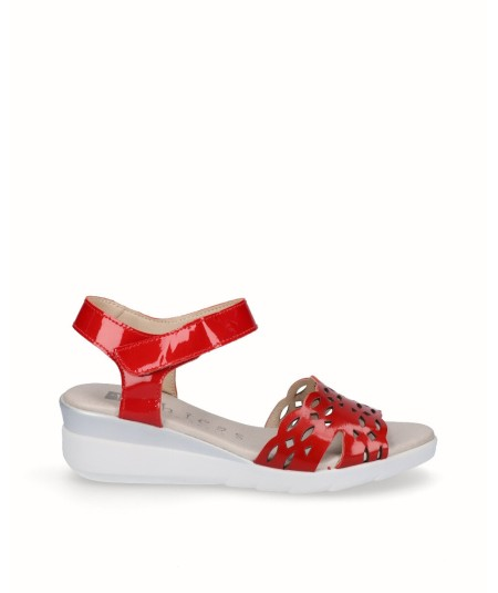 Red patent leather wedge sandal
