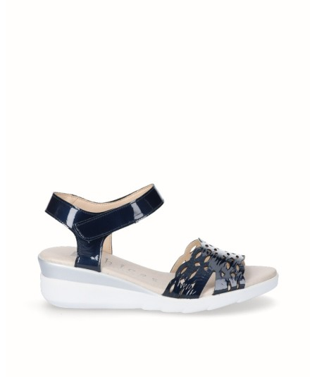 Navy blue patent leather wedge sandal