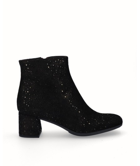 Mocha fantasy engraved suede leather high heel ankle boots