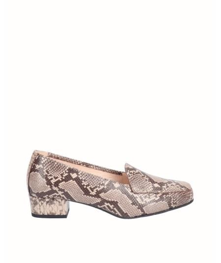 Zapato tacón piel serpiente beige