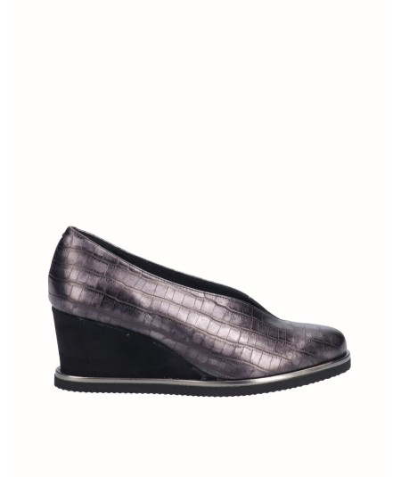 Black snake engraved metallic leather wedge shoe
