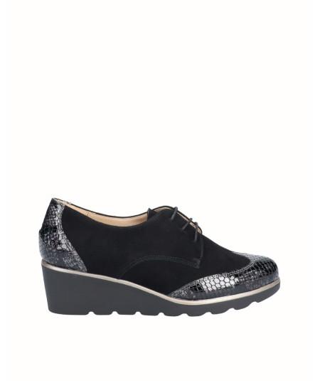 Zapato blucher cuña piel ante combinado piel charol grabado serpiente negro
