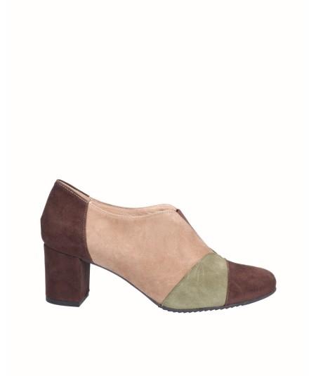 Suede leather high heel shoe combined mocha, kaki and taupe
