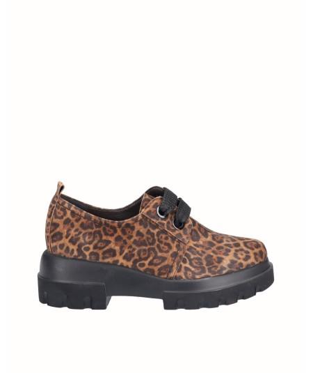 Zapato blucher piel leopardo marron