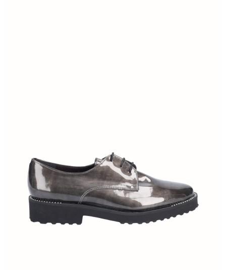 Zapato blucher piel charol gris