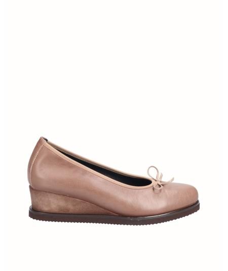 Zapato cuña piel natural combinado serraje cuero con elástico